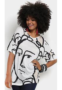 Camiseta Cantão Estampa Espelho Feminina - Feminino-Off White