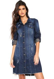 Vestido Jeans Osmoze Curto Destroyed Azul