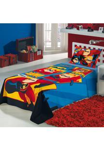 Jogo De Cama Solteiro Estampado Os Incríveis 1,50 M X 2,10 M Com 3 Peças Lepper Azul
