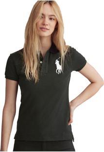 Camisa Polo Polo Ralph Lauren The Skinny Preta