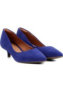Scarpin Bebecê Salto Baixo Bico Fino - Feminino-Azul