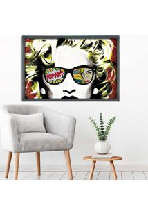 Quadro Love Decor Com Moldura Madonna Em Pop Art Grafitti Metalizado Grande