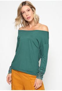 Blusa Ombro A Ombro Com Renda- Verde- Thiptonthipton