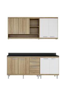 Cozinha 5 Módulos Com Tampo 8 Portas Argila E Branco Multimóveis