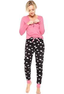 Pijama Malwee Liberta Nuvem Rosa/Preto