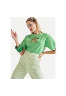 Blusa Bordado Estrela Casual Eva Verde
