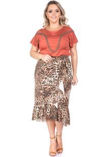 Blusa Domenica Solazzo Kalahari Plus Size Caramelo - Caramelo - Feminino - Dafiti