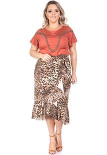 Blusa Domenica Solazzo Kalahari Plus Size Caramelo