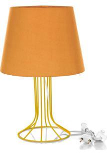 Abajur Torre Dome Laranja Com Aramado Amarelo