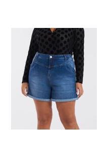 Short Jeans Com Pregas Curve & Plus Size | Ashua Curve E Plus Size | Azul | 52