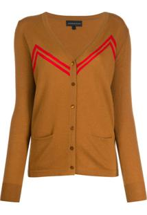 Cashmere In Love Cardigan Com Listras - Marrom