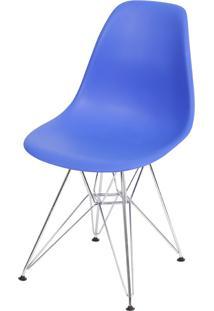 Cadeira Eames Dkr Or-1102 C/ Pés Cromados - Azul Escuro