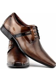 Sapato Social Gofer Com Cadarço Em Couro Legítimo Masculino - Masculino-Marrom