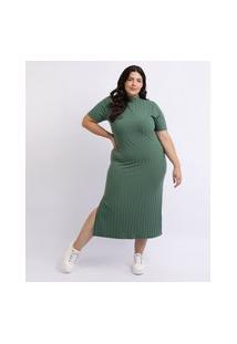 Vestido Feminino Mindset Plus Size Midi Com Fenda Manga Curta E Gola Alta Verde