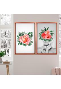 Quadro Com Moldura Chanfrada Floral Rose Metalizado - Grande