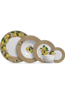 Aparelho De Jantar 20 Peças Positano - Alleanza - Branco / Amarelo