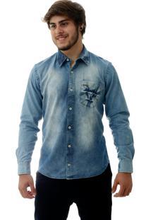 Camisa Laos Jeans Slim Fit Manga Longa Azul Delave