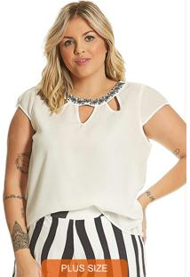 Blusa Feminina Plus Size Secret Glam Off White