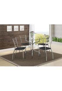 Mesa 393 Vidro Incolor Cromada Com 4 Cadeiras 1700 Fantasia Preto Carraro