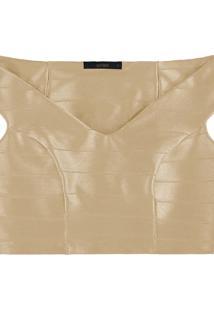Blusa Cropped Malha Herve Bege Dourado - Lez A Lez