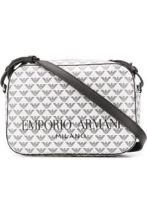 Emporio Armani Logo Print Shoulder Bag - Branco