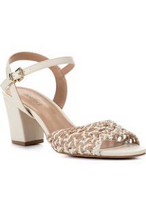 Sandália Shoestock Salto Bloco Macramê Feminina - Feminino-Nude