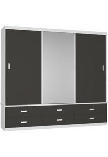 Guarda-Roupa Casal 3 Portas Com 1 Espelho 100% Mdf 1341E1 Branco/Café - Foscarini