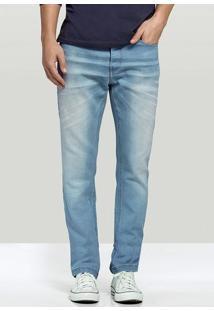 Calça Jeans Masculina Hering Com Lavação Azul Clara