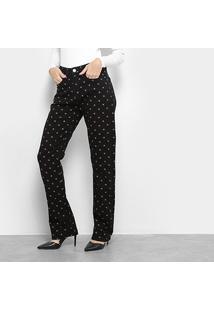 Calça Jeans Calvin Klein Reta Cintura Alta Ck Feminina - Feminino-Preto