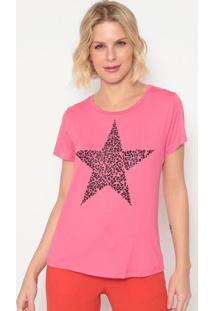 Blusa Estrela Com Termocolantes- Rosa & Preta- Cavalcavalari
