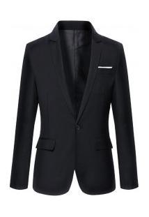 Blazer Masculino Sólido Elegante - Preto