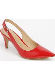Sapato Chanel Com Fivela & Ajuste - Vermelho - Saltoluiza Barcelos