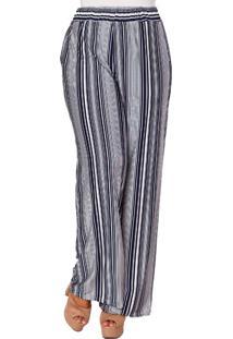 Calça Almaria Plus Size Pianeta Pantalona Azul Marinho