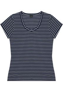Blusa Listrada- Azul Marinho & Branco- Rovitexrovitex