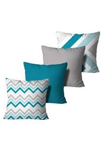 Kit 4 Capas Love Decor Para Almofadas Decorativas Abstrato Multicolorido Azul