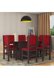 Conjunto De Mesa Com 6 Cadeiras Charlier Tabaco E Vermelho