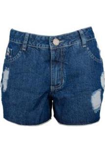 Shorts Jeans Knt Destroyed - Feminino