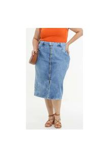 Saia Plus Size Feminina Midi Jeans Zíper