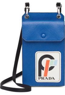 Prada Porta-Celular De Couro Saffiano - Azul