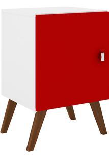 Mesa De Canto 1 Porta Rt 3012 Branco/Vermelho - Móvel Bento
