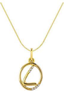 Pingente Letra L Ouro Amarelo E Diamantes 15 Mm