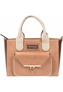 Bolsa Couribi Couro Legítimo Alça Transversal Handbag - Feminino-Marrom+Bege