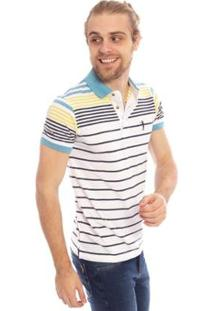 Camisa Polo Aleatory Listrada Bang Masculina - Masculino-Branco