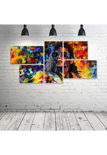 Quadro Decorativo - Michael-Jackson-Art-Color - Composto De 5 Quadros - Multicolorido - Dafiti