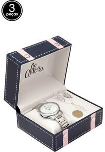 Kit 3Pçs Relógio Allora Al2035Fclk3K Prata
