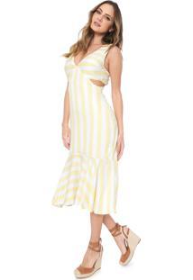 Vestido Lez A Lez Midi Listrado Amarelo/Branco