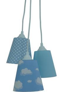 Lustre Crie Casa Pendente Infantil Nuvens Tons De Azul E Branco