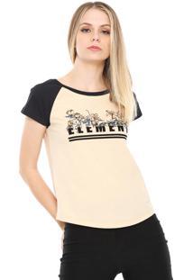 Camiseta Raglan Element Bloc Laranja/Preta