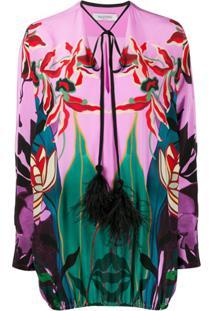 Valentino Blusa Mirrored Orchid Ramage Com Aplicação De Plumas - Rosa