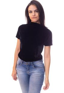 Blusa Moda Vício Gola Alta Manga Curta Veludo Preto - Tricae